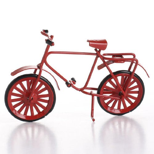 Miniature Red Painted Metal Vintage Inspired Bicycle for Fairy Gardens, Dollhouses, and Crafting (Dollhouse Bicycle)