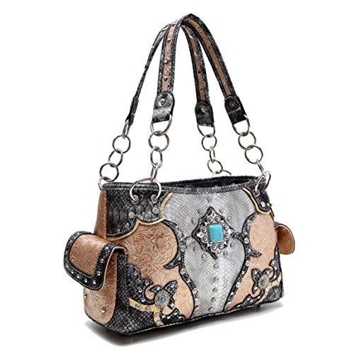 Top New Designer Black & Tan Tooled Vegan Leather with Turquoise Amulet Chain Concealed to Carry Purse Bag TravelNut Leather-Like Best Mother Day Nurse Graduation Mom Her Women Girlfriend Summer 2017