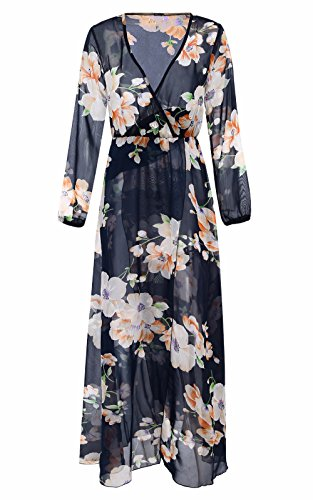 Clearance! Women's Dresses Long Sleeve, Ladies Floral Print Casual Loose Summer V-Neck Beach Long Maxi Dresses by Wugeshangmao Dress (Image #1)