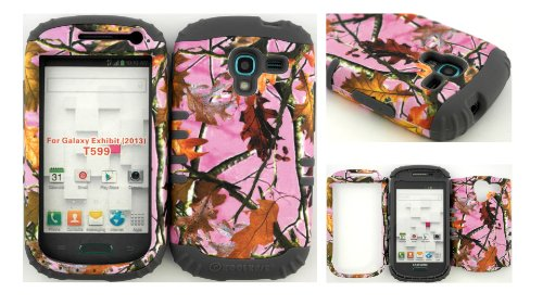 Hybrid Impact Rugged Cover Case for 2013 Release Samsung Galaxy Exhibit 4G T599 Pink Camo Mossy Leaf Branch on Grey Skin.