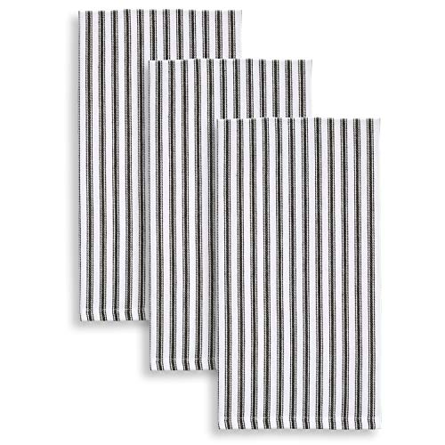 Cackleberry Home Black and White Ticking Stripe Kitchen Towels 18 x 28 Inches 100% Cotton Woven, Set of 3