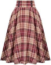 HGps8w Women's Vintage Pleated Skirt Plaid Print A-line High Waist Midi Skirts with Pockets