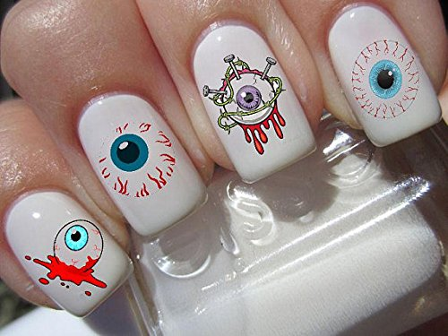 Halloween nail art set x 20 Eyes on you, horror eyeballs Decals water transfer decals stickers manicure set #H8