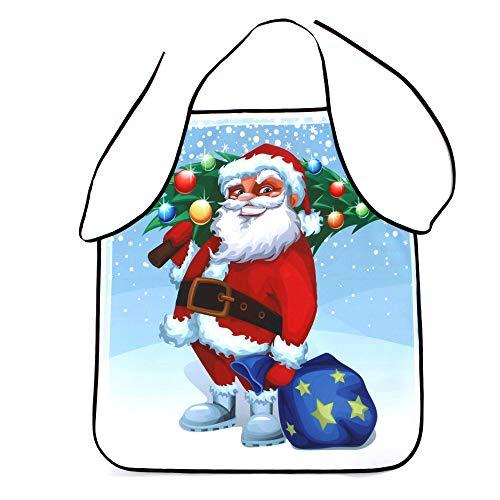 Armfer-Home Supply - Delantal de Navidad, diseno de Papa Noel, muneco de Nieve, arbol de Navidad, impresion 3D, Impermeable, Lavable, Ideal para Regalar en Fiestas, K
