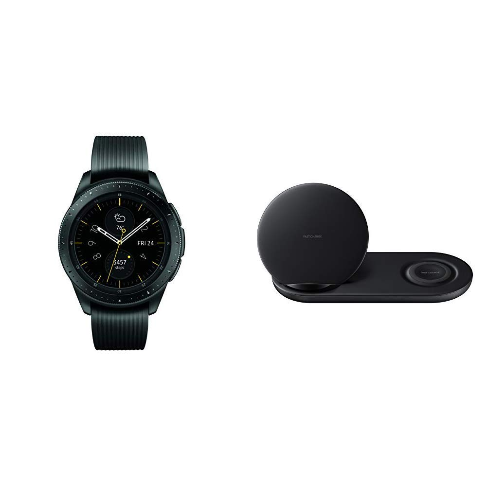 Samsung Galaxy Watch (42mm) Midnight Black (Bluetooth) & Samsung Wireless Charger Duo, Fast Charge Stand & Pad, Universally Compatible with Qi Enabled Phones and Select Samsung Watches, Black