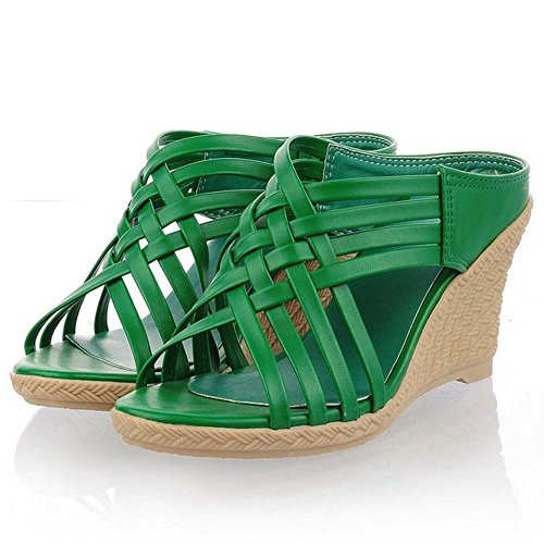 Zanpa Mujer Mode Tacon de Cuna Mules Sandales Verde