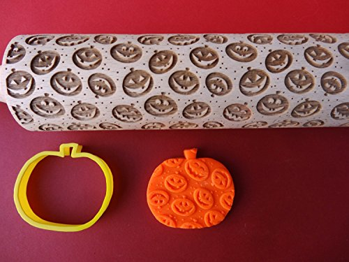 [JACK O LANTERN rolling pin and cookie cutter] (Halloween Cut Out Patterns For Pumpkins)