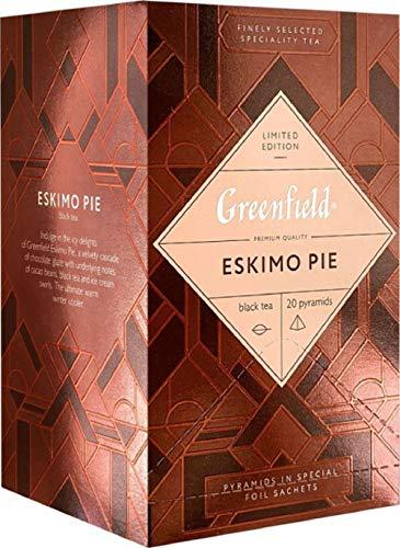 [1 PACK] Black tea Greenfield Eskimo Pie Chocolate + Ice Cream Beverages Grocery Gourmet Food [20 pyramids of tea bags]
