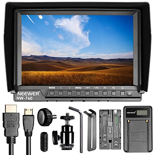 Neewer NW760 Ultra HD 7 Inches 1920x1200 IPS Screen Camera Field Monitor with F550 Replacement Battery and USB Battery Charger for Sony Canon Nikon Olympus Pentax Panasonic by Neewer
