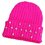 W&Hstore Mens Womens Punk Rock Hip-hop Hat Spike Rivet Stud Knit Cap (Fluorescence Pink)
