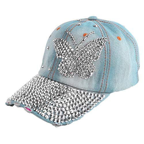 (Large Butterfly Mixed Rhinestone Bead Beauty Women Girl Novelty Snapback Hat Denim Baseball Caps Chapeau)