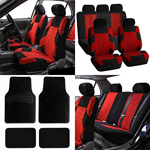 FH-FB071115 Complete Set Travel Master Seat Covers Airbag Ready & Rear Split, Red / Black Color w. Premium Carpet Black Floor Mats- Fit Most Car, Truck, Suv, or Van