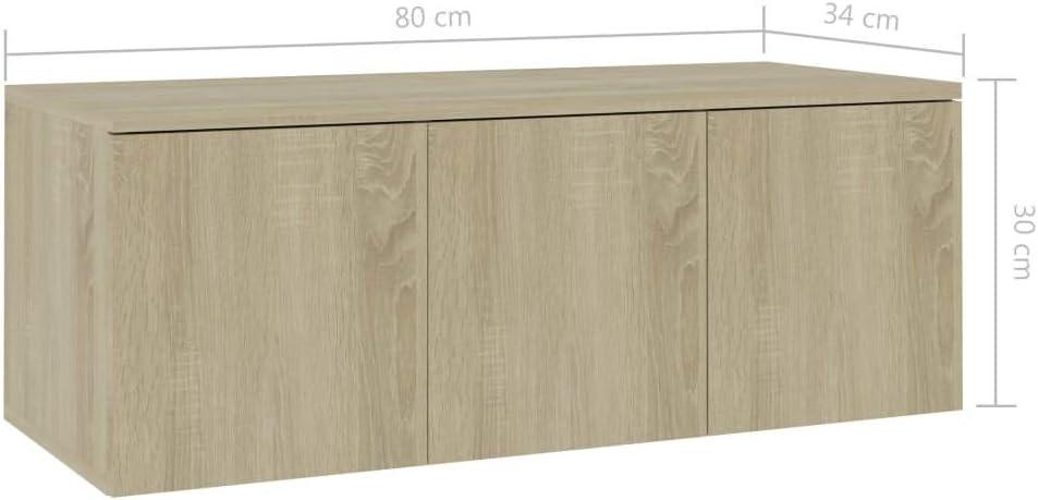 vidaXL Meuble TV Armoire Basse Meuble Divertissement Meuble Multim/édia avec 3 Tiroirs Salon Maison Int/érieur Blanc 80x34x30 cm Agglom/ér/é