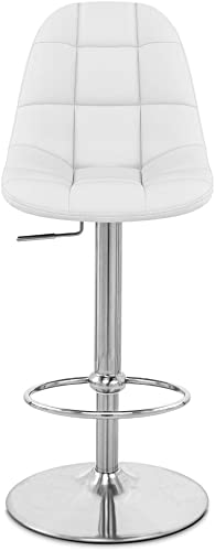 Zuri Furniture White Rochelle Adjustable Height Swivel Armless Bar Stool