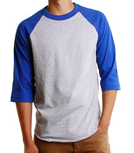 Men's Baseball Raglan 3/4 Sleeves Casual T-Shirts Plain Cotton Jersey S-3xl (Large, Gray/Royal - Gray Cotton T-shirt S/s