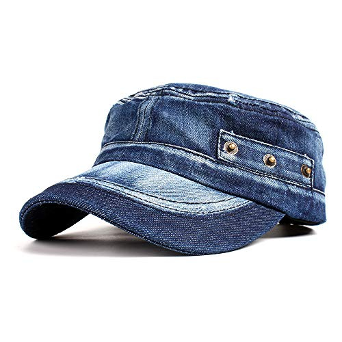 Vintage Washed Denim Cotton Peaked Baseball Cap Distressed Cadet Army Cap Millitary Corps Hat Cap Visor Flat Top Adjustable Baseball Hat Dark Blue