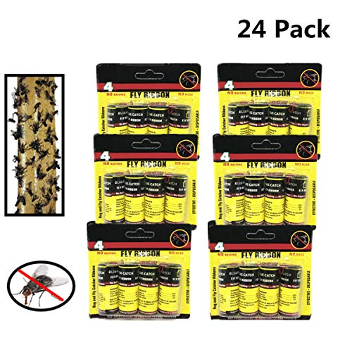 Sticky Fly (24 PCS Hunters Fly Trap , Fly Trap Tape, Fly Paper Strips , Fly Catcher Trap, Fly Ribbon, Fly Bait,Fly Catcher Ribbon)