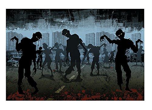 Halloween Zombie Backdrop Banner (3 Pcs. per Set) 6 ft. x 9 ft. Plastic -
