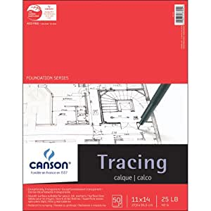 Pro-Art 11-Inch by 14-Inch Canson Tracing Paper Pad, 50-Sheet
