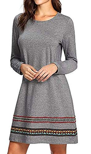 CYFLYMDER Women's Long Sleeve Embroidered Casual Loose T Shirt Dress(Grey, M) ()