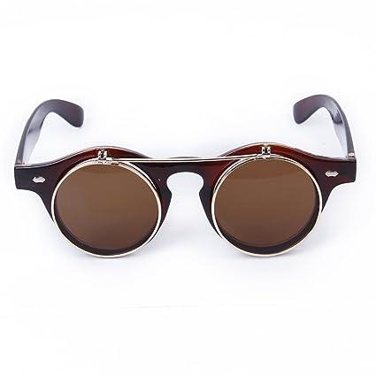 omeny redondo Retro Steampunk Gafas flip-up gafas de sol ...