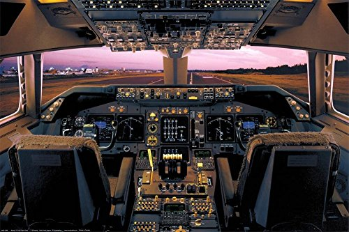 400 Boeing House (Laminated Boeing 747-400 Flight Deck Poster Print 24x36)