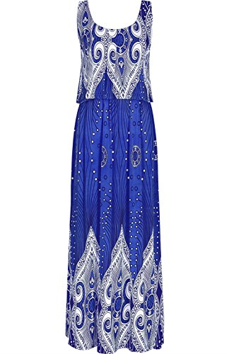2LUV Women's Sleeveless Paisley Double Layer Maxi Resort Dress Blue M