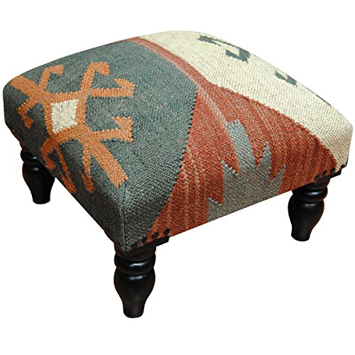 Furniture Living Room/ Stool Geometric Indo Handmade Wool  Jute Kilim Upholstered Wooden – Assembly Required SSAA408. 16 L x 16 W x 12 H