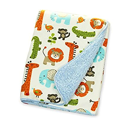 Beautiful Plush Baby Blanket in Gorgeous Animal Jungle Double Layered Blue Fleece for Extra Comfort Perfect for Swaddling and Strolling