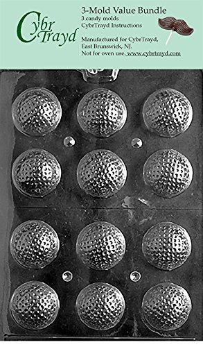 CybrTrayd S051-3BUNDLE Golf Balls 3D Chocolate Candy Mold with Exclusive Copyrighted Chocolate Molding Instructions ()