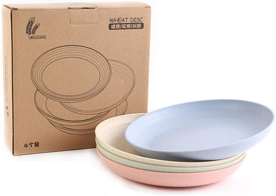Unbreakable 4pcs Set Healthy Wheat Straw Eco Friendly Biodegradable Dinner Plates Dinnerware Dishes Set Round Food Plate Saucers (7.9 Inch)