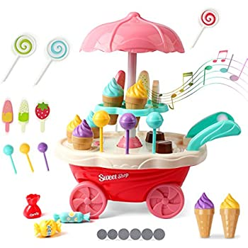 Kidcheer Ice Cream Candy Trolley Carts Pretend Play Set for Baby Kids with Music Light Best Gift for Boys and Girls