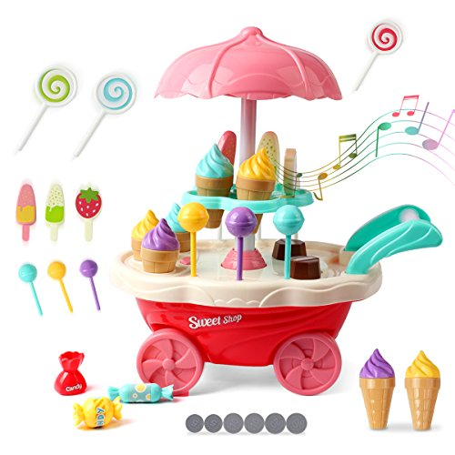 Trolley Bowl (Kidcheer Ice Cream Candy Trolley Carts Pretend Play Set for Baby Kids with Music Light Best Gift for Boys and Girls)