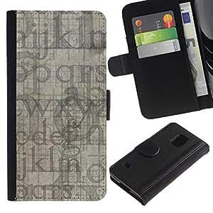 KingStore / Leather Etui en cuir / Samsung Galaxy S5 V SM-G900 / Letras del alfabeto azul gris Random Moderno
