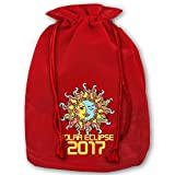Personalized Drawstring Santa Sack Red Total Solar Eclipse August 21 2017 Christmas Gift Bag Party Favor Bags For X-mas Size 13.8'' X 17.7''