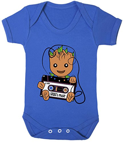 (GROOT's Music Retro Tape Cassette Print Baby Bodysuits Short Sleeve 100% Cotton (Royal Blue, 3-6 Months))