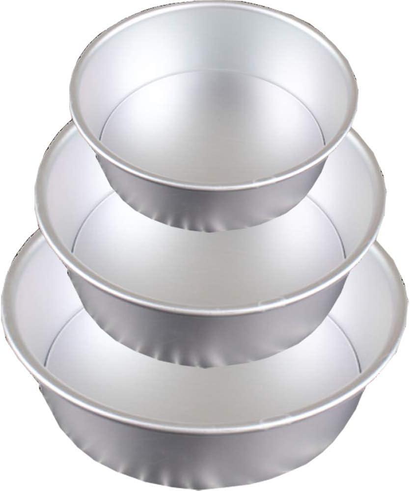 POKALI 3 Pack Non-Stick Deep Aluminum Round Cake Pan, Aluminum Round Cake Pan with Removable Bottom Cheesecake Pan Angel Food Cake Pan, 6'',8'',10''