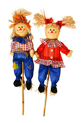 Worth Imports Boy and Girl Scarecrow (Set of 2), 32'' by Worth Imports