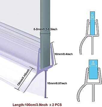 BUZIFU Plástico Mampara Ducha, 2 unids Goma para Mamparas de 100cm, Tiras para Puerta de Ducha, Fabricado en PVC Duro y PVC Suave Ajustable, Junta Mampara Ducha, para Usar a el Cristal