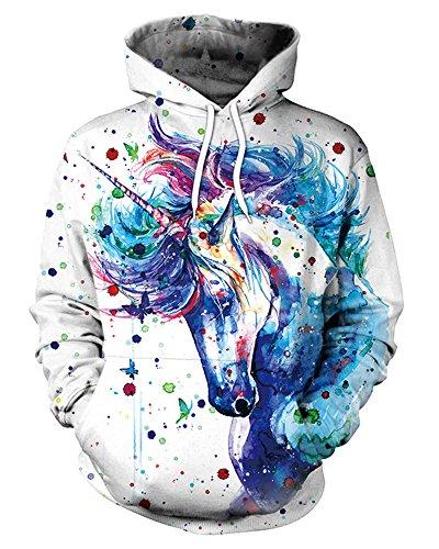 GLUDEAR Unisex Realistic 3D Digital Print Pullover Hoodie Hooded Sweatshirt,Unicorn -