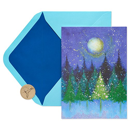 Papyrus Holiday Boxed Cards, Tree Under Moon Boxed Holiday Cards, 14-Count