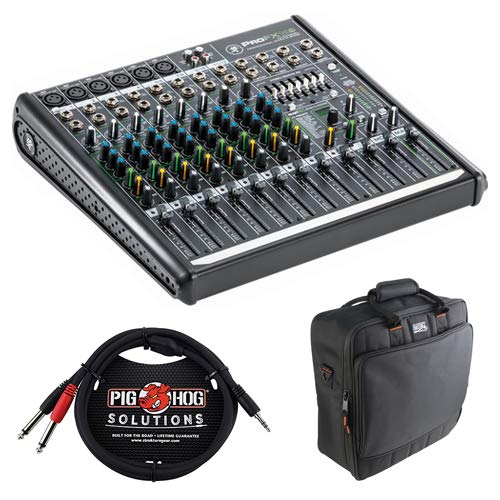 - Mackie ProFX12v2 12-Channel Sound Reinforcement Mixer with Padded Nylon Mixer/Equipment Bag & PB-S3410 3.5 mm Stereo Breakout Cable, 10 feet Bundle