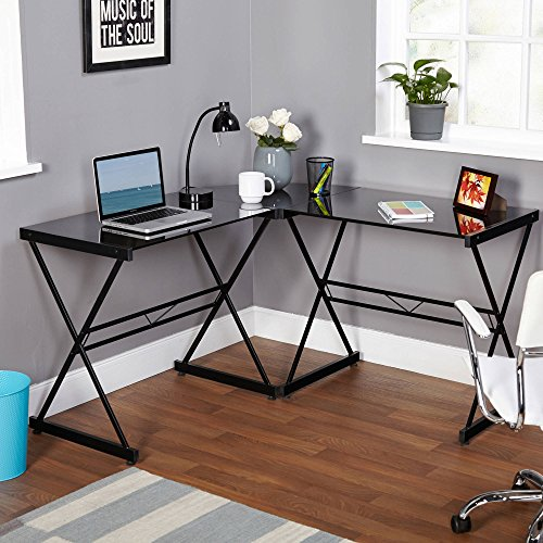Classy Atrium Metal and Glass L-shaped Computer Desk, Durable Tempered Glass and Sturdy Metal Frame, Elegant Addition to Home and Office Furniture, Multiple Colors (L: 51.00 x W: 51.00 x H: 29.00 in) by TMS (Image #4)