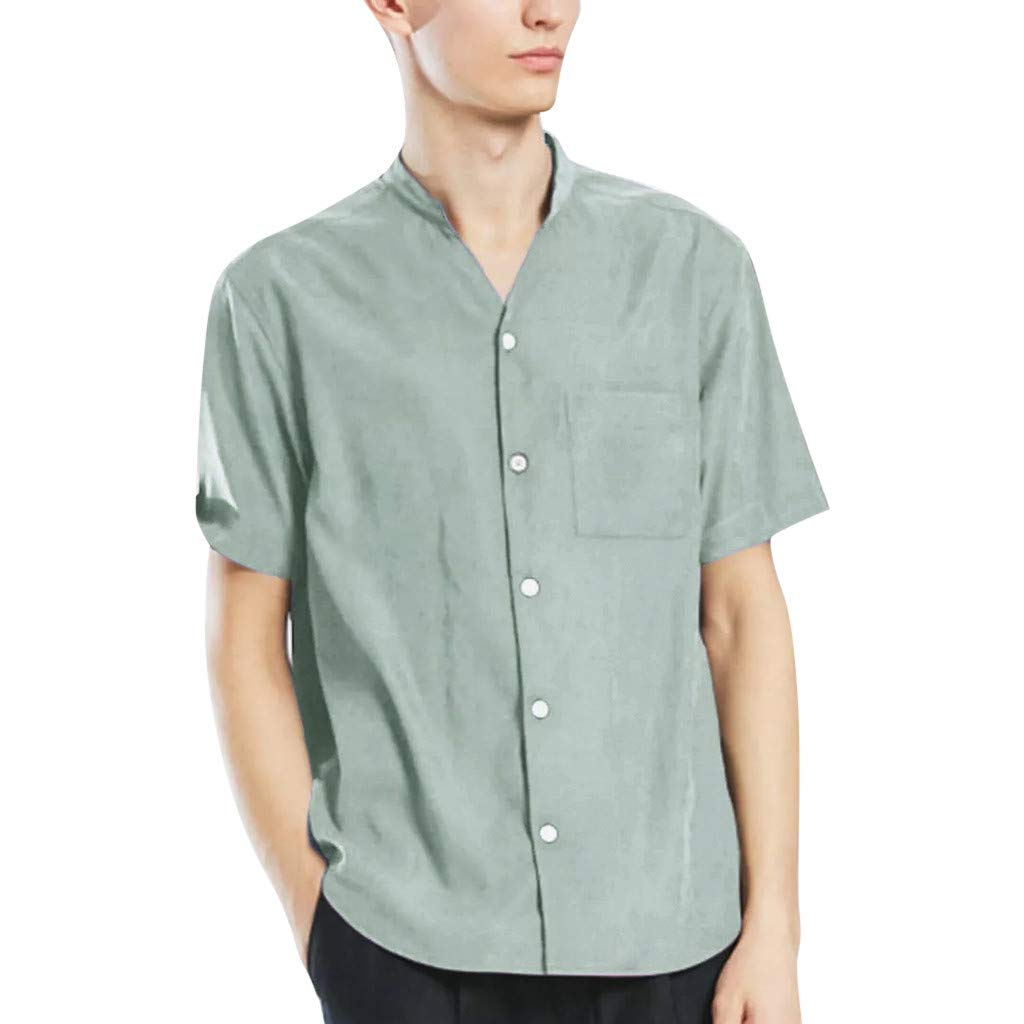 linqiudD Mens New Summer Short-Sleeved Shirt Fashion Casual Blouse Top