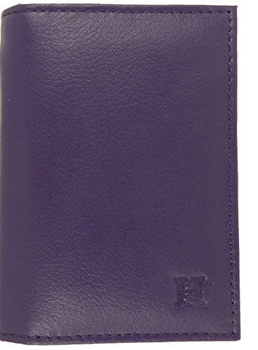 RFID Twin Purple Wallet ID with Travel Card Slimline Soft Holder Leather Credit Windows UxCw7XznqE