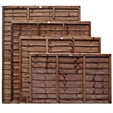 Weatherwell Lap Wooden Fence Panels 3ft, 4ft, 5ft, 6ft Horizontal Dip Treated (6ft x 5ft)