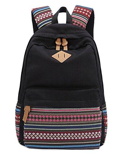 DATO Bolso Mochilas Escolares Casual Mochila de Lona para Mujer Backpacks Multifuncional Moda Juvenil de Gran Capacidad Viaje Mochila Negro