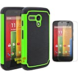 Moto G Case, [Non-Slip][Slim Perfect-Fit][Drop Protection][Shock-Absorption][Impact Resistant] Dual Layer Rubber Bumper Cover Case for Motorola Moto G(1st Gen only) +Screen Protector (Green)
