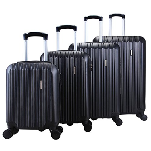 Bag travel spinner carry on suitcase 4 pcs black color luggage set tsa lock abs (Dance Costumes Designers Australia)