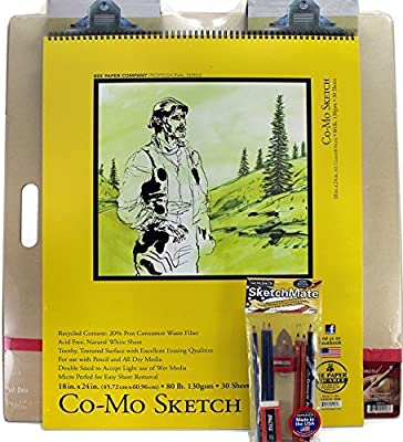 Mega Drawing Board with Complete Drawing Set by General Pencil (Made in USA) and 24x18 Sketch Pad by Bee Paper Co